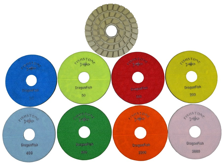 "DragonFish, 7"" Concrete Polishing Pad, Full Set 30-3000grit"