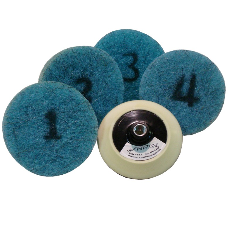 Full Set of Poly Blue Concrete Polishing pads w/ backer