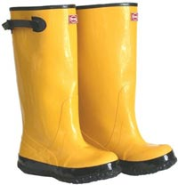 Yellow over the shoe rubber boots