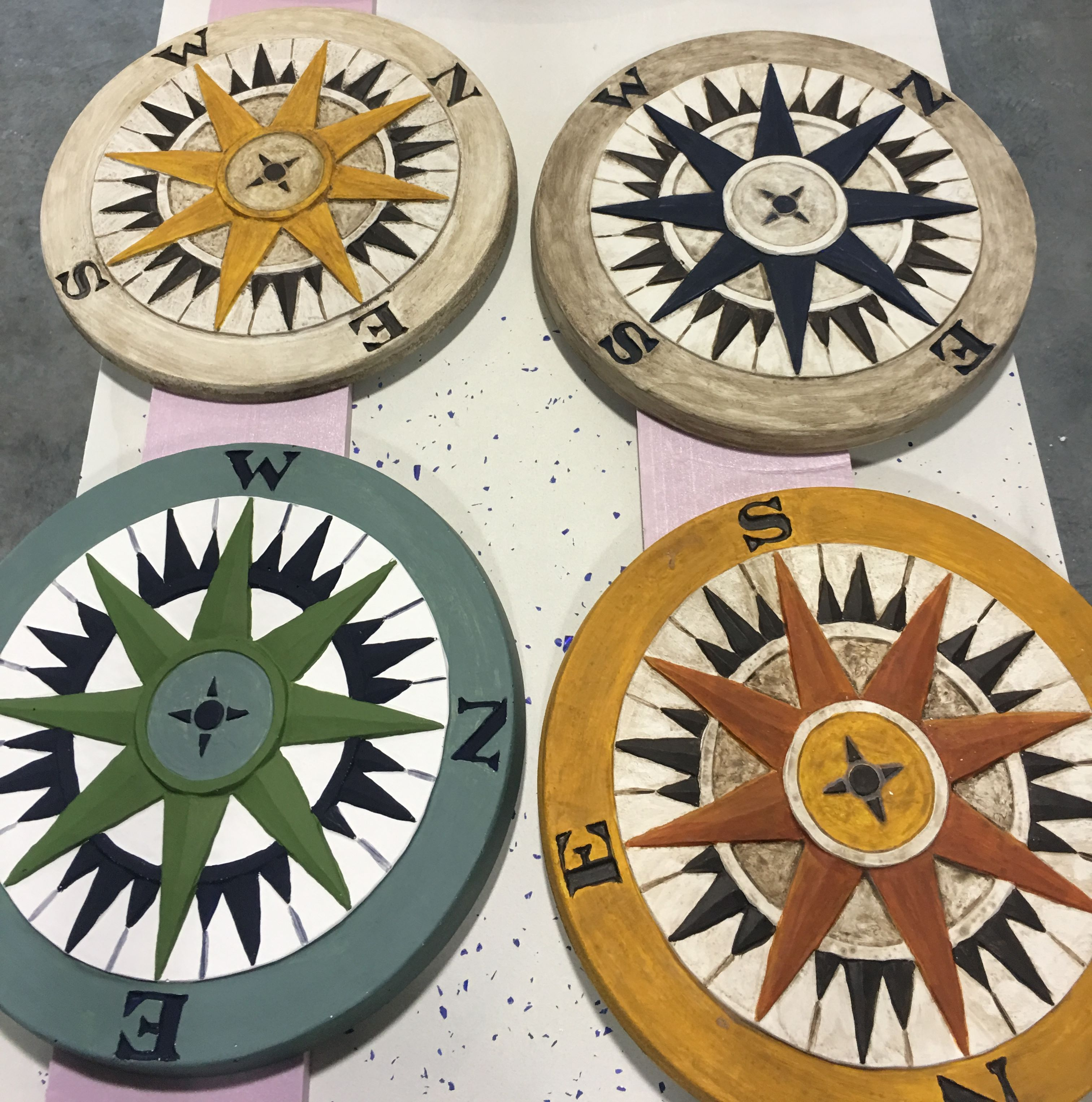 Compass Rose Stepping Stone Mold Fishstone Concrete